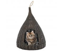 vidaXL Casa para gatos con cojín forma tipi sauce natural gris 40x60cm