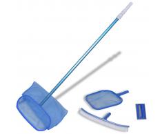 vidaXL Conjunto De Limpieza Piscina - Cepillo 2 Recojehojas 1 Mango