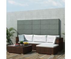 vidaXL Conjunto de sofá jardín 14 piezas mimbre marrón Mesa Conservatorio