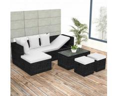 vidaXL Set muebles de jardín 4 piezas y cojines ratán sintético negro