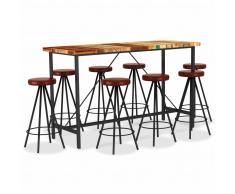 vidaXL Set muebles de bar 9 piezas madera reciclada y cuero auténtico