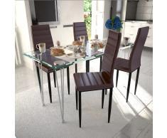 vidaXL 4 sillas marrones comedor Slim Line mesa de vidrio transparente