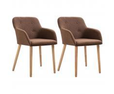 vidaXL Sillas de comedor 2 uds tela y madera maciza de roble marrón