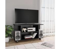 vidaXL Mueble para TV con ruedas aglomerado negro 80x40x40 cm