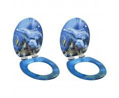 vidaXL Asiento inodoro 2 uds WC tapa cierre suave MDF diseño delfines