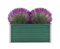 vidaXL Jardinera de jardín de acero galvanizado 100x40x45 cm verde