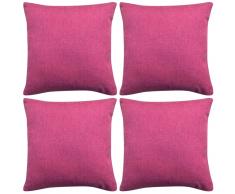 vidaXL Fundas de cojín 4 unidades apariencia de lino 50x50 cm rosa