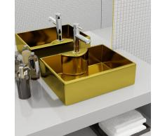 vidaXL Lavabo con orificio para grifo 48x37x13,5 cm cerámica dorado