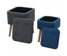 vidaXL Taburetes almacenamiento 2 pzas tela azul y gris oscuro