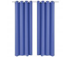 vidaXL Cortinas opacas 2 piezas con ojales de metal 135x175 cm azul