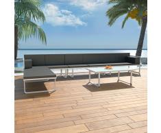vidaXL Set de muebles de jardín 5 piezas textilene aluminio negro