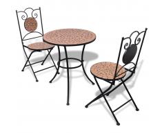 vidaXL Mesa mosaico 60 cm con 2 sillas terracota