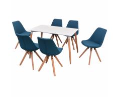 vidaXL Conjunto de mesa de comedor y sillas 7 uds blanco y azul