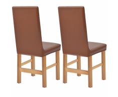 vidaXL Funda elástica para silla 2 unidades de ante marrón