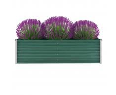 vidaXL Jardinera de jardín de acero galvanizado 160x40x45 cm verde