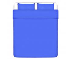 vidaXL set funda edredón 3 piezas algodón color azul 200x200/60x70 cm