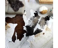 vidaXL Alfombra de piel de vaca real negro y blanco 150x170 cm