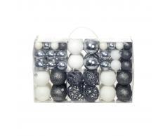 vidaXL Lote de bolas de Navidad 100 unidades 6 cm blanco/gris