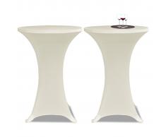 vidaXL 2 Manteles color crema ajustados para mesa de pie - 70 cm diámetro