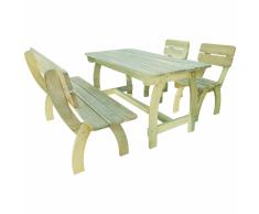 vidaXL Mesa y banco de exterior 4 piezas madera pino impregnada