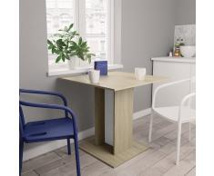 vidaXL Mesa de comedor de aglomerado blanco y roble Sonoma 80x80x75 cm