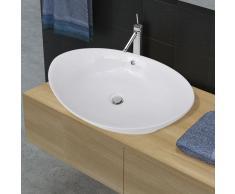 vidaXL Lavabo ovalado y orificio desbordamiento cerámica 59x38,5 cm