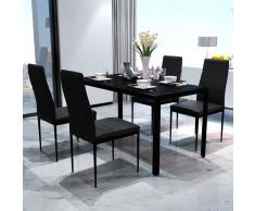 vidaXL Conjunto de mesa y sillas de comedor 5 piezas negro