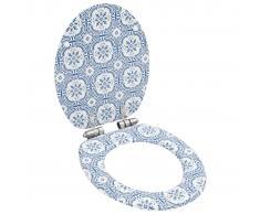 vidaXL Asiento inodoro WC tapa de cierre suave MDF diseño porcelana