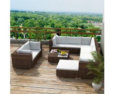 vidaXL juego de sofá jardín 32 piezas mimbre sintético marrón