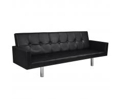 vidaXL Sofá cama de cuero artificial negro con reposabrazos