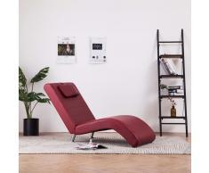vidaXL Diván con almohada de cuero sintético color vino tinto