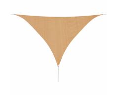 vidaXL Toldo de vela triangular HDPE 5x5x5 m beige