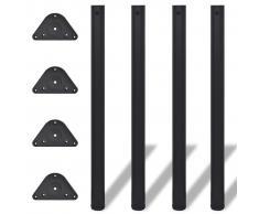 vidaXL 4 Patas de Mesa Regulables en Altura 870 mm (Color Negro)