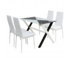 vidaXL Conjunto mesas y sillas de comedor cinco piezas cuero sint.