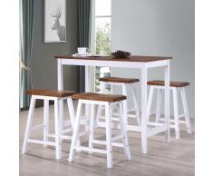 vidaXL Juego de mesa alta y taburete de cocina 5 pzas madera maciza