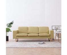 vidaXL Sofá de 3 plazas de tela verde