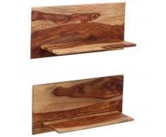 vidaXL Estantes de pared 2 uds. 58x26x20 cm madera maciza de sheesham