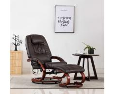 vidaXL Sillón de masaje reclinable y reposapiés cuero sintético marrón