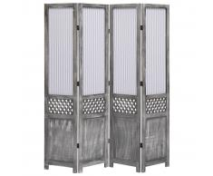 vidaXL Biombo de 4 paneles de tela gris 140x165 cm