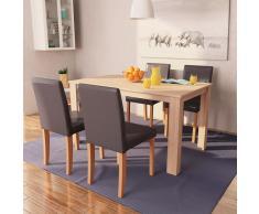 vidaXL Sillas y mesa de comedor 5 pzas roble y cuero artificial marrón
