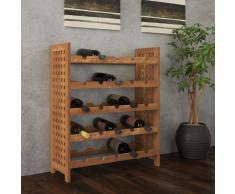 vidaXL Botellero de madera maciza de nogal 64x25x76 cm