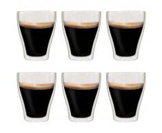 vidaXL Vasos de cristal térmico doble pared café con leche 6 uds 370ml