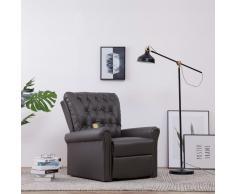 vidaXL Sillón de masaje reclinable de cuero artificial gris