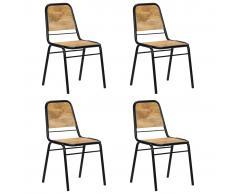 vidaXL Sillas de comedor 4 unidades madera maciza de mango