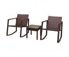 vidaXL Juego de mecedoras y mesa jardín 3 piezas poli ratán marrón
