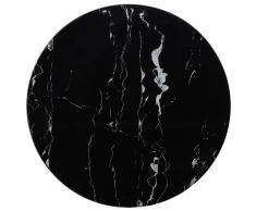 vidaXL Tablero para mesa vidrio con textura de mármol negro Ø70 cm