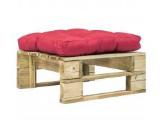 vidaXL Otomana de jardín de palés con cojín rojo de madera FSC verde