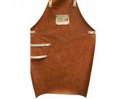 Mannsberger Delantal de barbacoa marrón cuero sintético