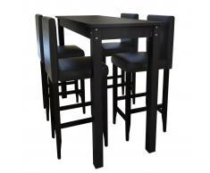 vidaXL Mesa de bar con 4 sillas barra negras