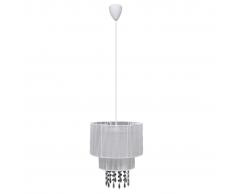 vidaXL Lámpara de techo colgante blanca con cristales